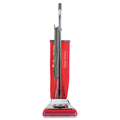 Heavy-Duty Commercial Upright Vacuum, 17.5lb, Chrome/Red