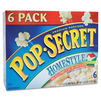 Microwave Popcorn, Homestyle, 3.5oz Bags, 6/Box