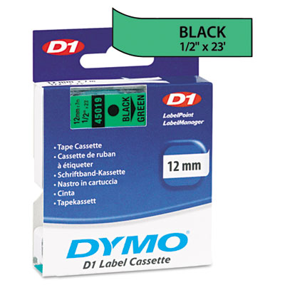 D1 Standard Tape Cartridge for Dymo Label Makers, 1/2in x 23ft, Black on Green