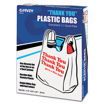 """Thank You"" Bags, Printed, Plastic, .5mil, 11 x 22, White, 250/B"