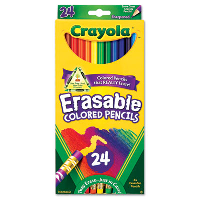 Erasable Colored Woodcase Pencils, 3.3 mm, 24 Assorted Colors/Bo