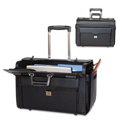 Rolling Computer/Catalog Case, Koskin, 19 x 9 x 15-1/2, Black