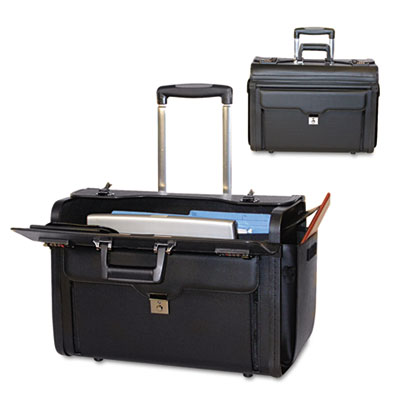 Rolling Computer/Catalog Case, Leather, 19 x 9 x 15-1/2, Black