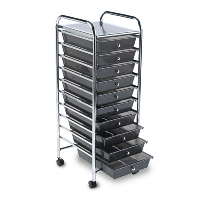 Portable Drawer Organizer, 15-1/4w x 13d x 37-5/8h, Smoke/Chrome