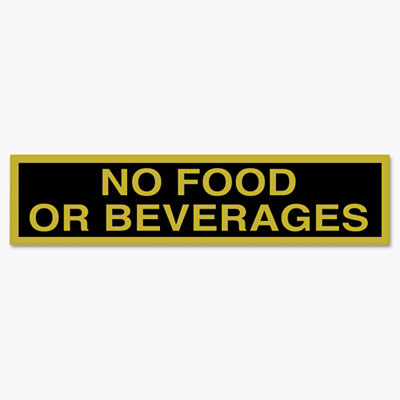 Business Decal Sign, No Food or Beverages, 4 x 8 1/2, Black/Gold