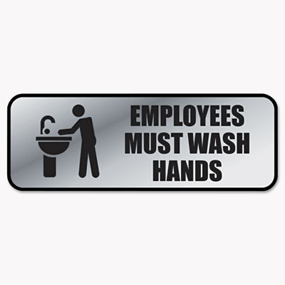 Brushed Metal Office Sign, Employees Must Wash Hands, 9 x 3, Sil