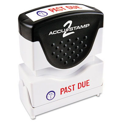 Accustamp2 Shutter Stamp with Microban, Red/Blue, PAST DUE 1 5/8