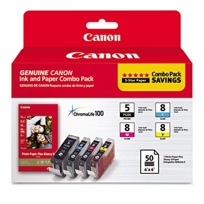 0628B027 Inks & Paper Pack, PGI-5, CLI-I8, Black; Cyan, Magenta,