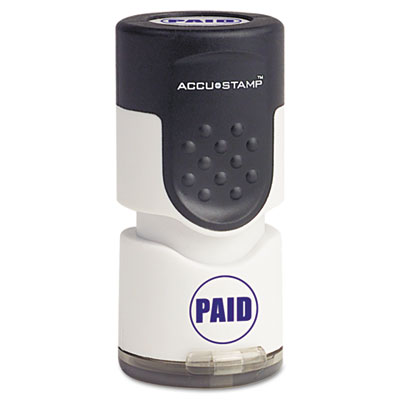 "Accustamp Pre-Inked Round Stamp with Microban, PAID, 5/8"" dia, B"
