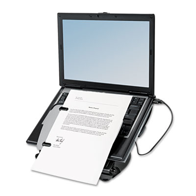 Adjustable Laptop Riser with Four-Port USB Hub, 12 1/8 x 13 3/8