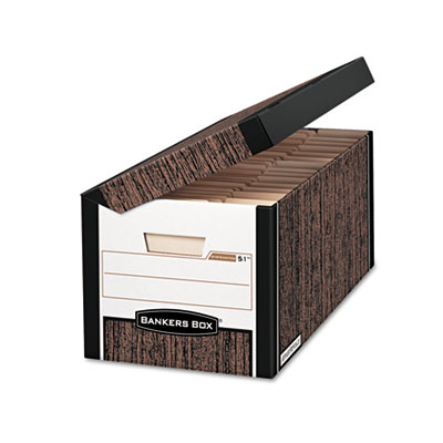 FastFold Flip Top File Storage Box, Letter/Legal, Woodgrain, 12/