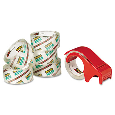 "Moving & Storage Tape, 1.88"" x 54.6yds, 3"" Core, Clear, 6/Pack"