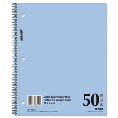 Mid Tier Single Subject Notebook, College Rule, Ltr, White, 50 S