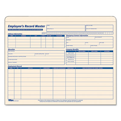 Employee Record Master File Jacket, 9 1/2 x 11 3/4, 10 Point Man