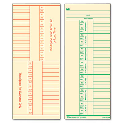 Time Card for Cincinnati, Named Days, Two-Sided, 3 3/8 x 8 1/4,