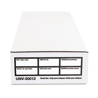 Economy Storage Box, Check/Deposit, Paper, 9 x 24 x 4, White, 12