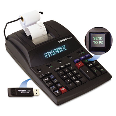 1280-7 Two-Color Printing Calculator w/USB, Black/Red Print, 4.6