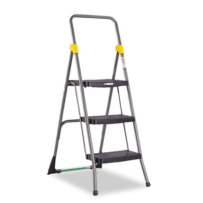 Commercial 3-Step Folding Stool, 300lb Cap, 20 1/2w x 32 5/8d x