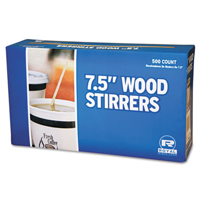 "Wood Coffee Stirrers, 7 1/2"" Long, Woodgrain, 500 Stirrers/Box,"