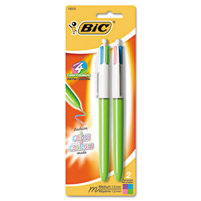 4-Color Ballpoint Retractable Pen, Assorted Ink, Medium, 2 per P