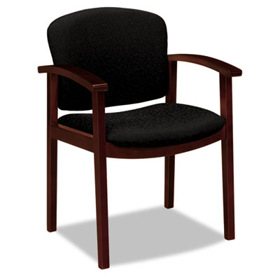 2111 Invitation Reception Series Wood Guest Chair, Mahogany/Rave