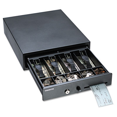 Compact Steel Cash Drawer w/Spring-Loaded Bill Weights, Disc Tum