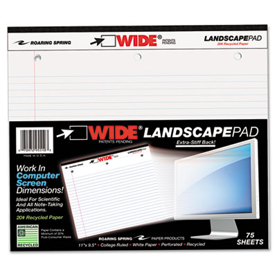 Landscape Format Writing Pad, College Ruled, 11 x 9-1/2, White,