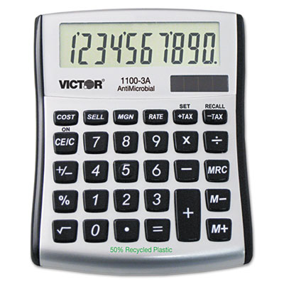 1100-3A Antimicrobial Compact Desktop Calculator, 10-Digit LCD<br />91-VCT-11003A