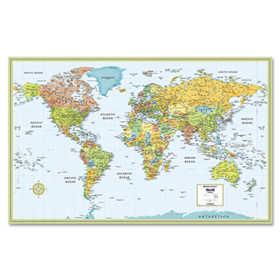 M-Series Full-Color Laminated World Map, 32 x 50