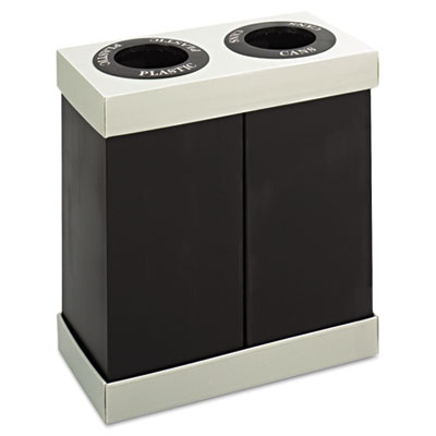 At-Your-Disposal Recycling Center, Polyethylene, Two 28gal Bins,