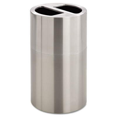 Dual Recycling Receptacle, 30gal, Stainless Steel