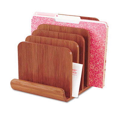 Bamboo Wood Organizer, Five Sections, 8 x 10 x 9, Cherry