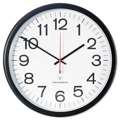 "Indoor/Outdoor Clock, Atomic, 13-1/2"", Black"