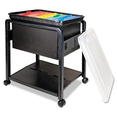 Folding Mobile File Cart, 14-1/2w x 18-1/2d x 21-3/4h, Clear/Bla