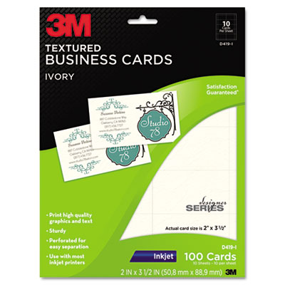 Inkjet Textured Business Cards, 2 x 3 1/2, Ivory, 100/PK