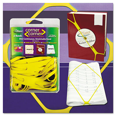 "Corner Rubber Bands, 8 1/2"", Yellow"
