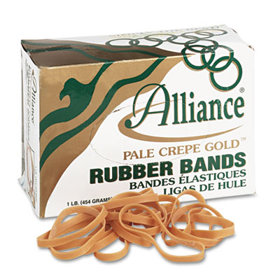 Pale Crepe Gold Rubber Bands, Size 64, 3-1/2 x 1/4, 1lb Box
