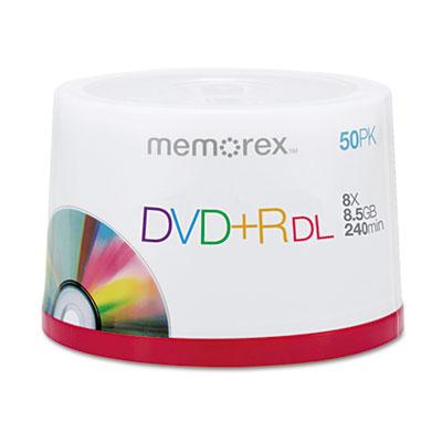 Dual-Layer DVD+R Discs, 8.5 GB, 50/Pk
