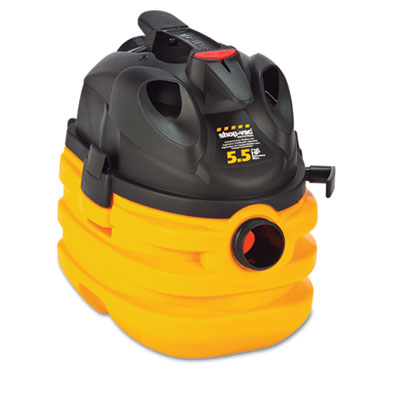 Heavy-Duty Portable Wet/Dry Vacuum, 5gal Capacity, 17lb, Black/Y