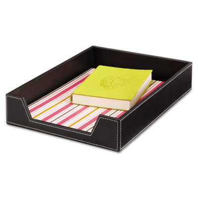 Desk Tray, Single Tier, Leather Look, Letter, Black