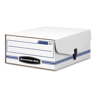 Liberty Binder-Pak Storage Box, Letter, Snap Fastener, White/Blu