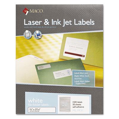 File Folder Labels, 2/3 x 3-7/16, White, 1500/Box
