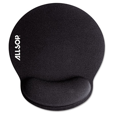 "Memory Foam Mouse Pad with Wrist Rest, Black, 7 1/4"" x 8 1/4"""