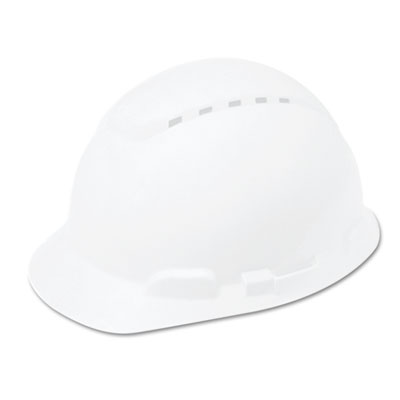 MMMH701V H-700 Series Hard Hat With 4 Point Ratchet Suspension, Vented, White , White