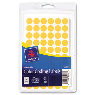 Removable Self-Adhesive Color-Coding Labels, 1/2in dia, Neon Ora