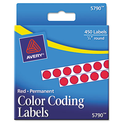 Permanent Self-Adhesive Color-Coding Labels, 1/4in dia, Red, 450