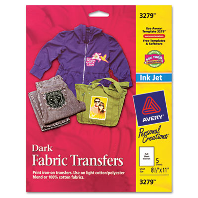 Dark Fabric Transfers for Inkjet Printers, 8-1/2 x 11, White, 5/