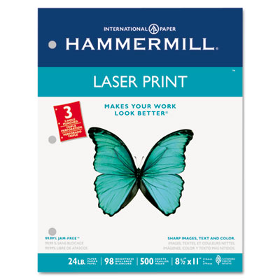 Laser Print Office Paper, 3-Hole Punch, 98 Brightness, 24lb, Ltr