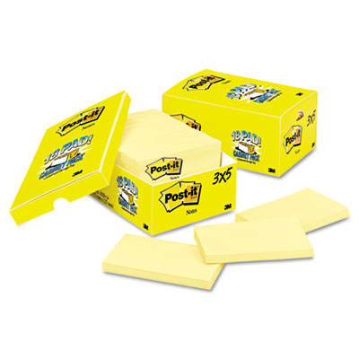 Cabinet Pack, 3 x 5, Canary Yellow, 18 90-Sheet Pads/Pack
