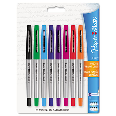 Flair Porous Point Stick Liquid Pen, Assorted Ink, Ultra Fine, 8